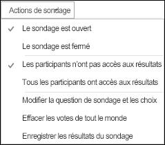 Capture d'écran des actions de sondage