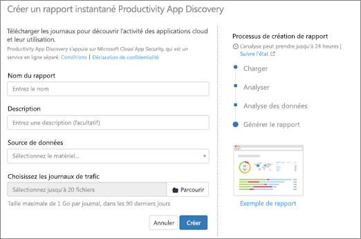 Dans Office 365 CAS, choisissez découvrir > Créer nouveau rapport