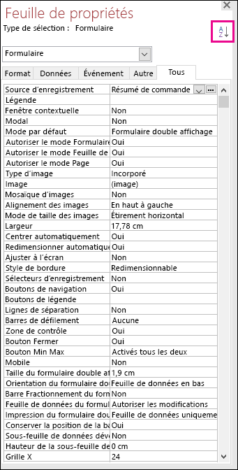 Capture d'écran de la feuille de propriétés Access sans tri des propriétés