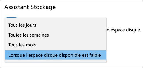 Menu déroulant stockage Windows 10 sélectionnant la fréquence d'exécution du stockage