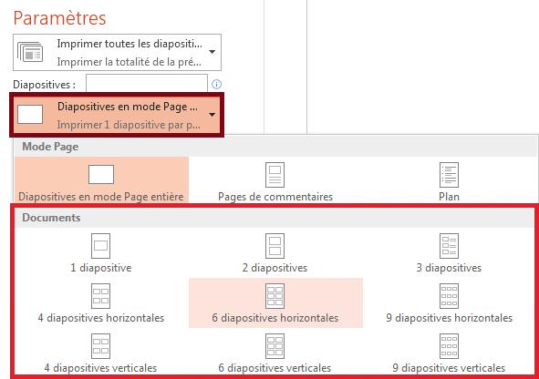 Dans le volet Imprimer, cliquez sur Diapositives en mode Page entière, puis sélectionnez la disposition souhaitée dans la liste Documents.