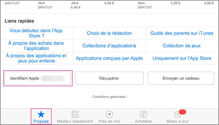 Section Recommandées de l'App Store