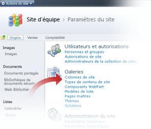Sélection de types de contenu de site dans la fenêtre Paramètres du site