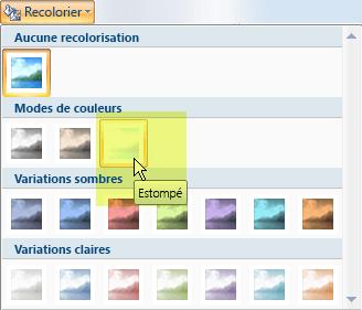 Sélectionnez le bouton Recolorier puis, sous Modes de couleur, sélectionnez l'option Estomper