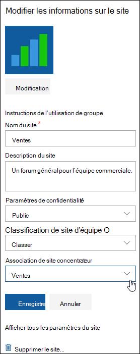Associer un site SharePoint à un site concentrateur