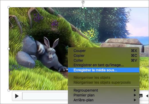 Diapositive contenant une image et la commande Enregistrer en tant qu'image sélectionnée dans le menu contextuel