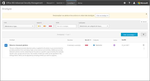 Lorsque vous accédez au portail ASM, vous démarrez avec la page stratégies