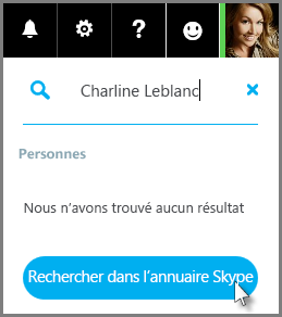 Cliquez sur Rechercher dans le répertoire Skype