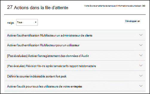 File d'attente des actions dans l'outil Office 365 Secure Score