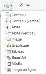 Option Insérer un espace réservé dans PowerPoint pour Mac