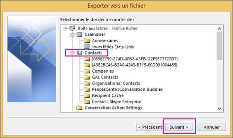Sélectionnez le dossier de contacts que vous voulez exporter.