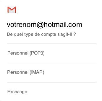 Sélectionnez Exchange