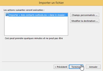 Lorsque vous importez des contacts Gmail dans votre boîte aux lettres Office365, cliquez sur le bouton Terminer pour démarrer la migration