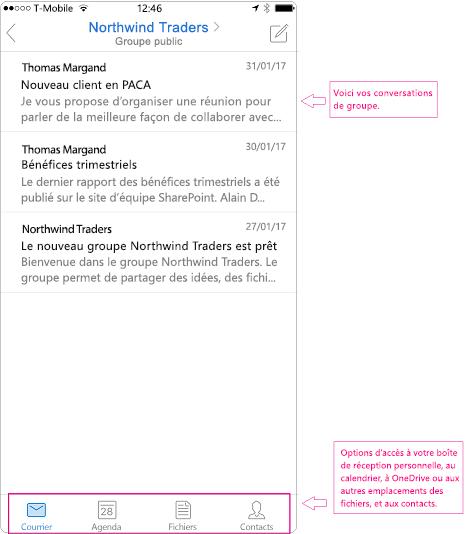 Mode conversation d'un groupe dans l'application mobile Outlook