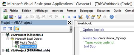 Module ThisWorkbook dans Visual Basic Editor (VBE)