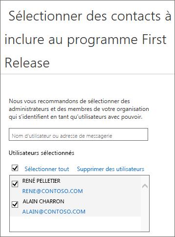 Programmes Office365 First Release - Ajouter des utilisateurs