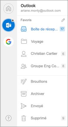 Volet de navigation d'Outlook avec favoris en haut