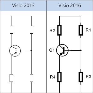 Formes électriques dans Visio2013 et Visio2016