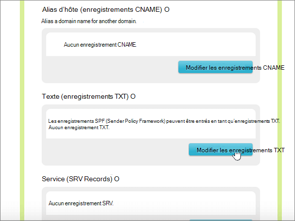 Cliquez sur Edit TXT Records (Modifier les enregistrements TXT)