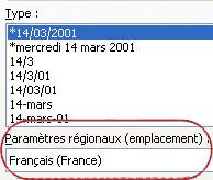Zone Paramètres régionaux sélectionnée dans la boîte de dialogue Format de cellule