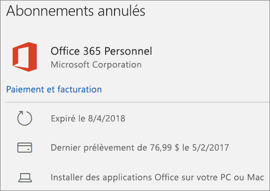 Abonnement Office 365 expiré