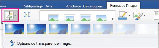 Sous l'onglet Format de l'image, transparence est mise en évidence.