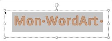 Objet WordArt sélectionné