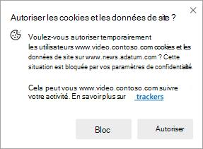 Capture d'écran de l'invite qui s'affiche lorsqu'un site demande l'autorisation d'utiliser des cookies et des données de site sur un autre site