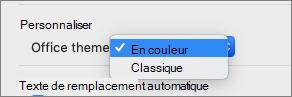 Menu déroulant thème Office dans lequel l'utilisateur peut sélectionner le thème en couleur ou classique