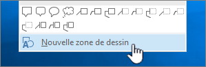 Option Nouvelle zone de dessin au bas du menu Formes