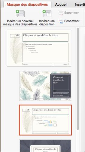 Le volet des miniatures affiche des dispositions lorsque le masque des diapositives est modifié