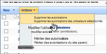 Supprimer les autorisations des utilisateurs à partir du menu d'Action