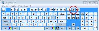 Clavier visuel Windows avec la touche Arrêt défil