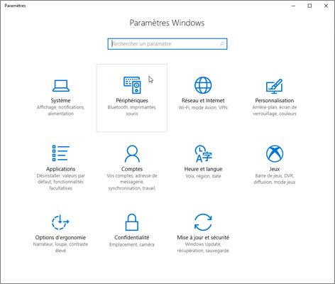 Pic de paramètres de périphérique Windows