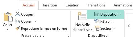 Le bouton Disposition dans l'onglet Accueil de PowerPoint affiche toutes les dispositions de diapositive disponibles