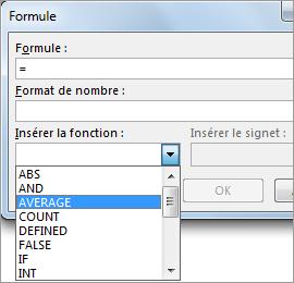 Option Coller une fonction d'une formule sous l'onglet Disposition des Outils de tableau.