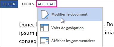 Image d'une partie du menu Affichage en mode Lecture, avec l'option Modifier le document sélectionnée.