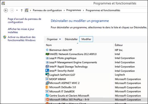Cliquez sur Modifier dans le panneau de configuration désinstaller des programmes pour lancer une réparation de Microsoft Office