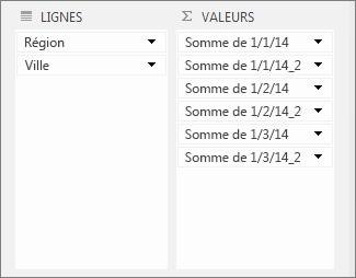 Dupliquer des valeurs dans la zone Valeurs