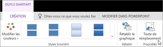 Onglet Création des Outils SmartArt avec le curseur pointant sur l'option Texte de remplacement