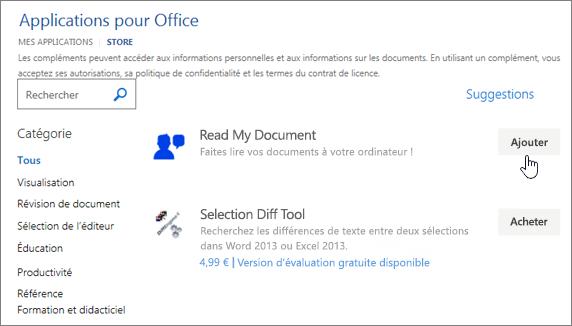 Capture d'écran des page des applications pour Office dans la banque dans laquelle vous pouvez sélectionner ou rechercher une application pour Word.