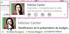Menu rapide SkypeEntreprise dans Outlook