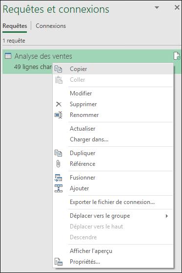 Options du menu & avec le bouton droit de Connexions