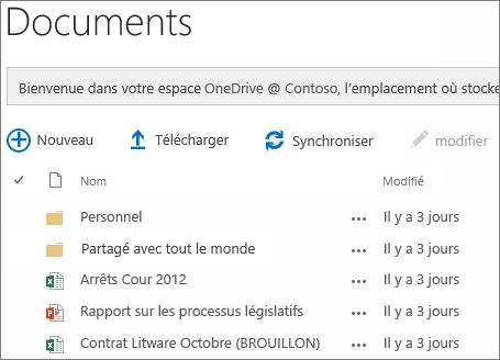 Voir OneDrive pour les documents d'entreprise