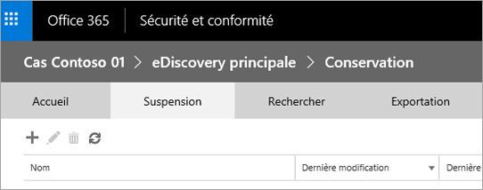 Cliquez sur Mettre en attente pour afficher la page suspensions casse.