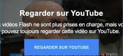 Ce message d'erreur YouTube explique les vidéos incorporées flash ne sont plus prises en charge