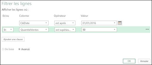 Excel Power BI - Boîte de dialogue Filtrer les lignes avancée de l'Éditeur de requête