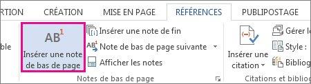 Commande Insérer une note de bas de page