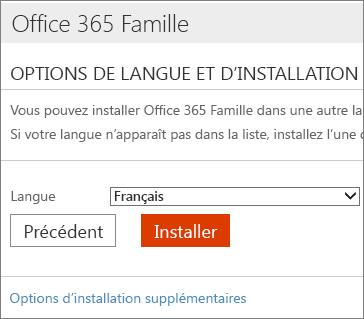 Sur la page Options d'installation de langue, sélectionnez le lien, puis Options d'installation supplémentaires