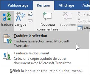 Affichant l'option de sélection de traduire sous l'onglet Révision
